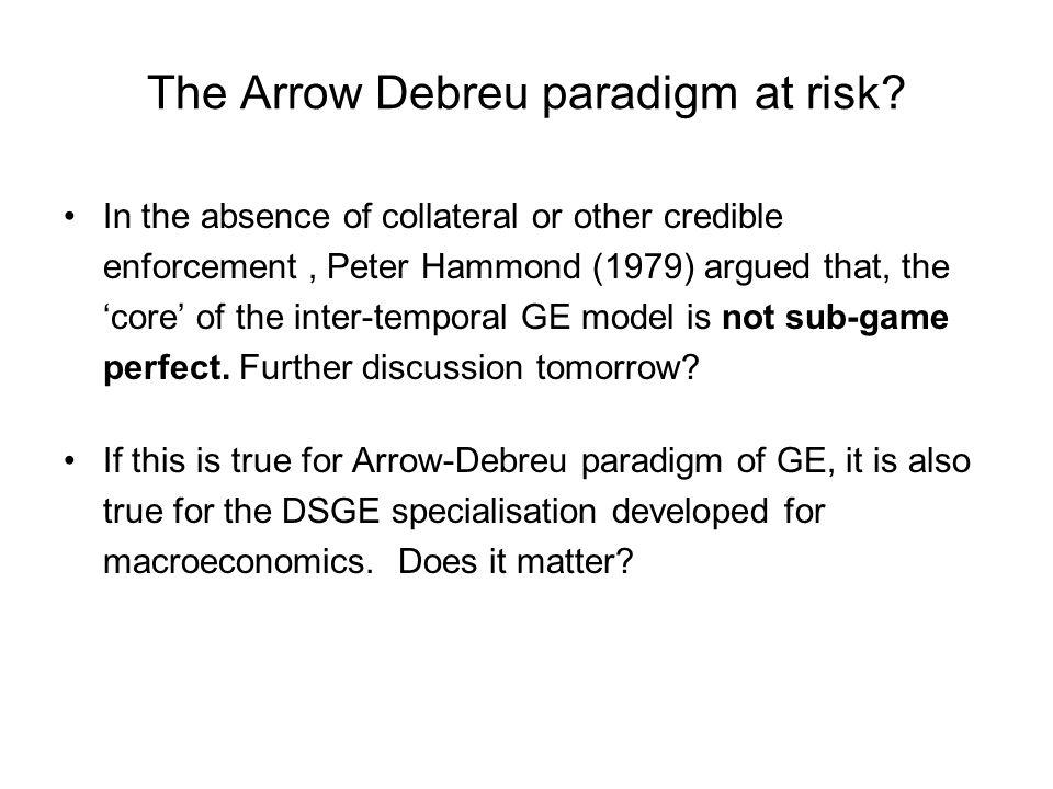 The Arrow Debreu paradigm at risk.