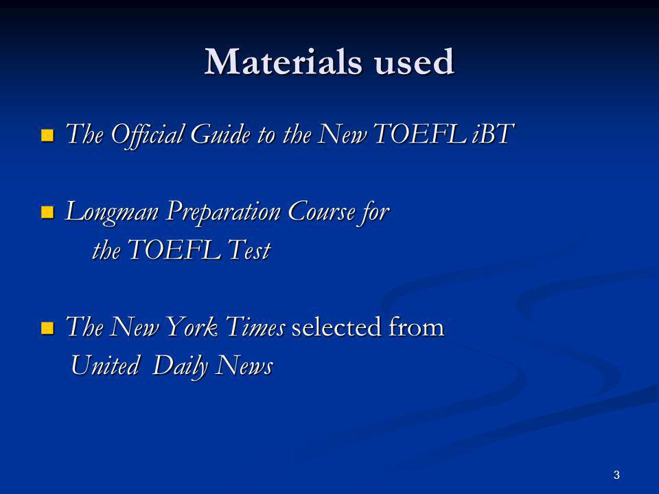 4 Before our meeting … Coordinator-of-the-week has to prepare and study the TOEFL Speaking Test materials in advance.