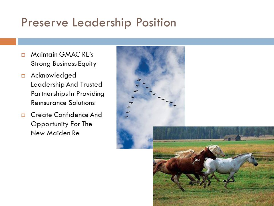 Preserve Leadership Position Maintain GMAC REs Strong Business Equity Acknowledged Leadership And Trusted Partnerships In Providing Reinsurance Soluti