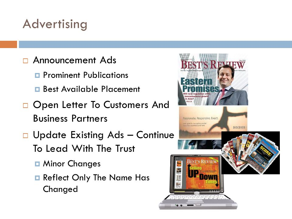 Advertising Announcement Ads Prominent Publications Best Available Placement Open Letter To Customers And Business Partners Update Existing Ads – Cont