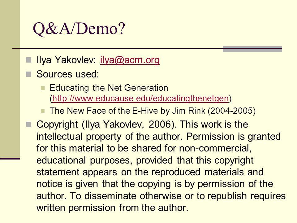 Q&A/Demo.