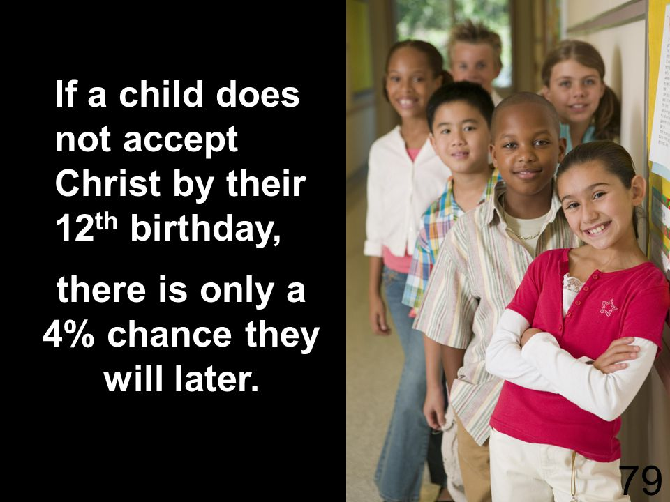 If a child does not accept Christ by their 12 th birthday, there is only a 4% chance they will later.