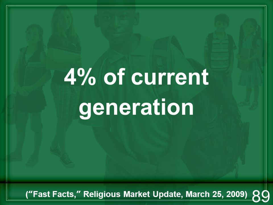 4% of current generation (Fast Facts, Religious Market Update, March 25, 2009) 89