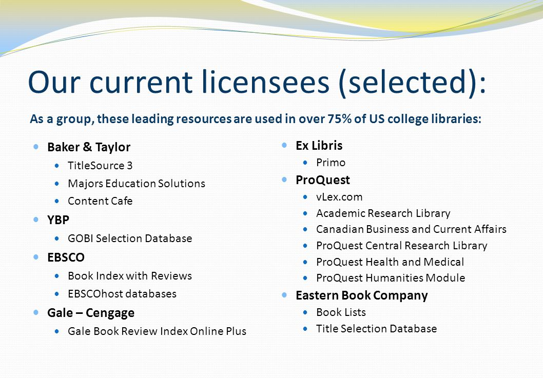 Our current licensees (selected): As a group, these leading resources are used in over 75% of US college libraries: Baker & Taylor TitleSource 3 Majors Education Solutions Content Cafe YBP GOBI Selection Database EBSCO Book Index with Reviews EBSCOhost databases Gale – Cengage Gale Book Review Index Online Plus Ex Libris Primo ProQuest vLex.com Academic Research Library Canadian Business and Current Affairs ProQuest Central Research Library ProQuest Health and Medical ProQuest Humanities Module Eastern Book Company Book Lists Title Selection Database