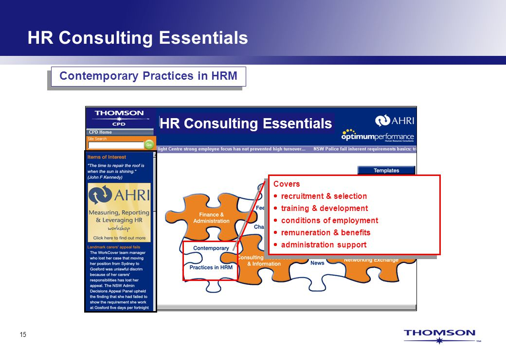 15 HR Consulting Essentials Covers recruitment & selection training & development conditions of employment remuneration & benefits administration supp