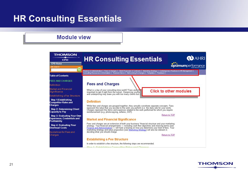 21 HR Consulting Essentials Table of Contents FEES AND CHARGES Definition Market and Financial Significance Establishing a Fee Structure Step 1:Establishing Competitor Rates and Charges Step 2: Determining Client Capacity to Pay Step 3: Evaluating Your Own Experience, Credentials and Profitability Step 4: Evaluating Your Overhead Costs Guidelines for Fees and Charges Module view Click to other modules HR Consulting Essentials