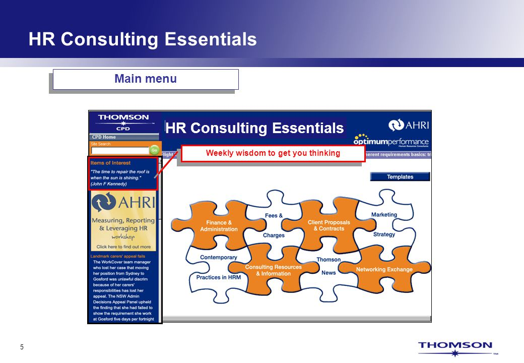 5 Weekly wisdom to get you thinking Main menu HR Consulting Essentials