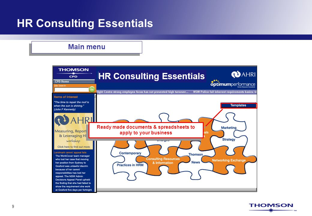 9 Ready made documents & spreadsheets to apply to your business Main menu HR Consulting Essentials