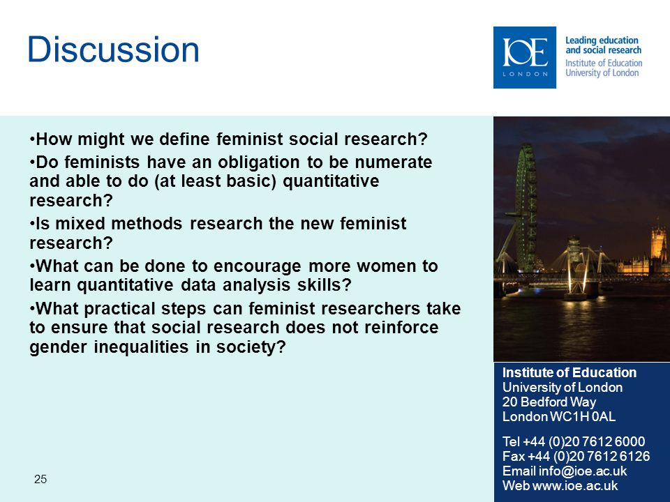 25 Discussion How might we define feminist social research.