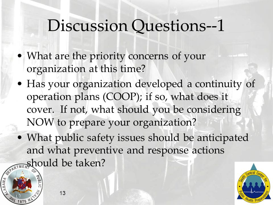 13 Discussion Questions--1 What are the priority concerns of your organization at this time? Has your organization developed a continuity of operation