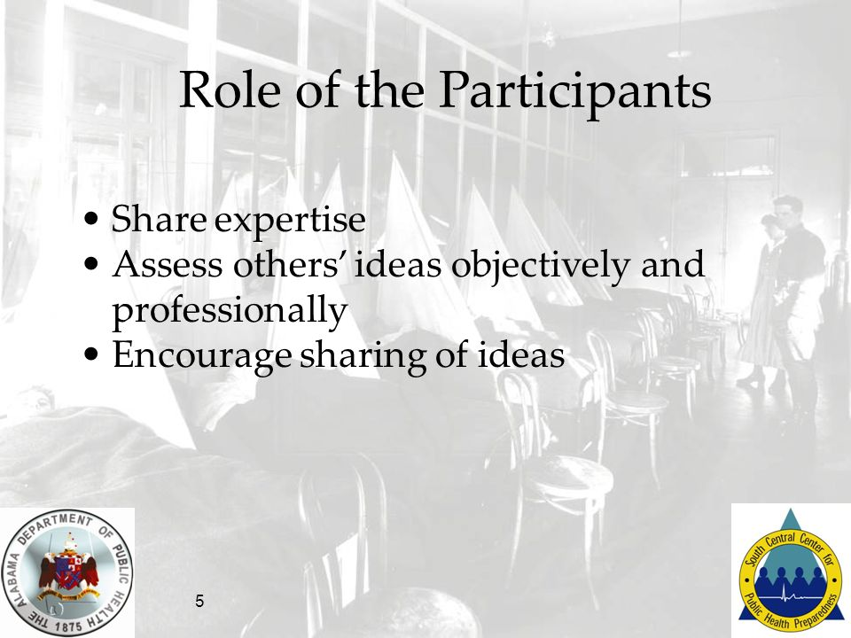 5 Role of the Participants Share expertise Assess others ideas objectively and professionally Encourage sharing of ideas