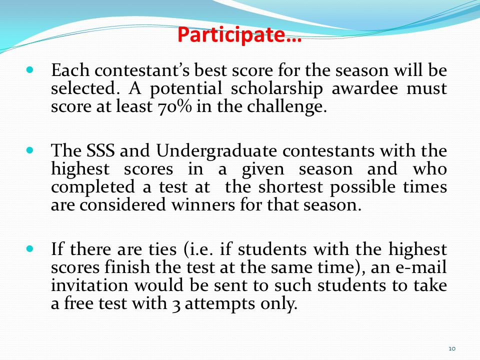 Each contestants best score for the season will be selected.