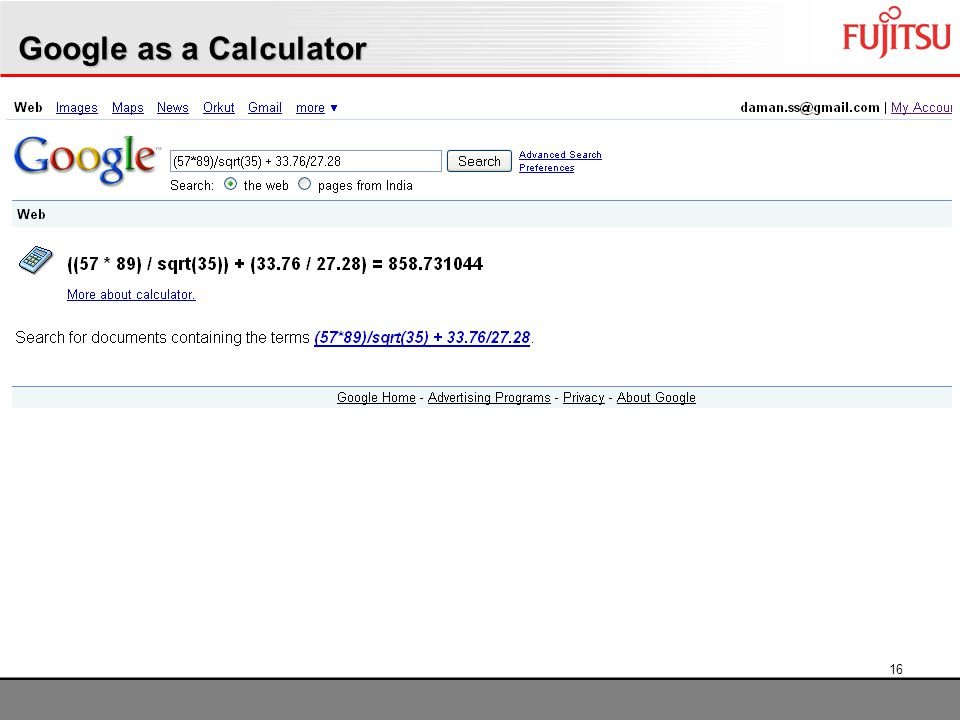 16 Google as a Calculator