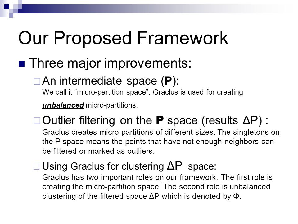 Our Proposed Framework Three major improvements: An intermediate space (P): We call it micro-partition space.