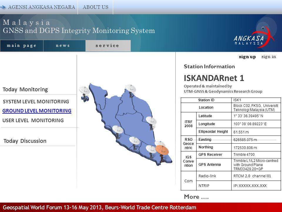 sign up sign up sign in AGENSI ANGKASA NEGARA ABOUT US Station Information main page news service SYSTEM LEVEL MONITORING GROUND LEVEL MONITORING USER