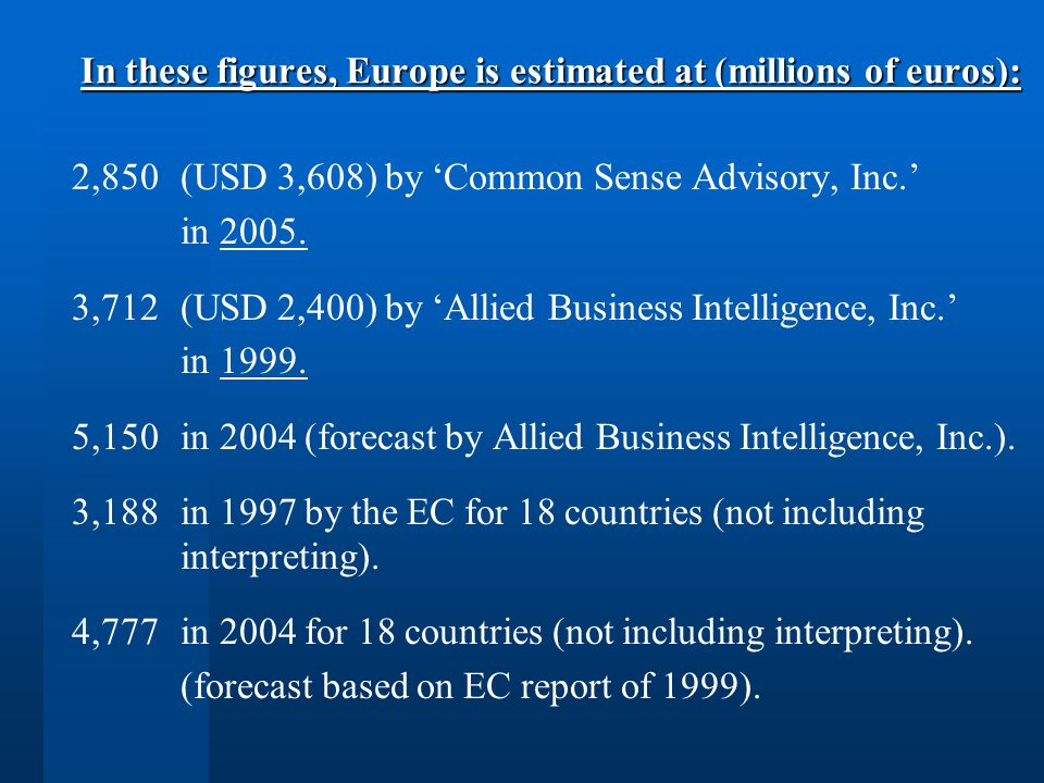 In these figures, Europe is estimated at (millions of euros): 2,850 (USD 3,608) by Common Sense Advisory, Inc.