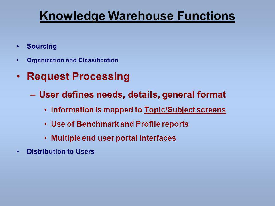 Knowledge Warehouse Functions Sourcing Organization and Classification Request Processing –User defines needs, details, general format Information is mapped to Topic/Subject screens Use of Benchmark and Profile reports Multiple end user portal interfaces Distribution to Users
