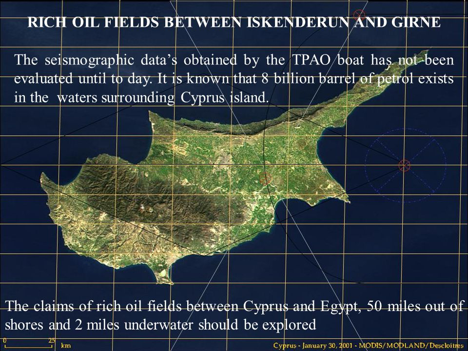 8 The claims of rich oil fields between Cyprus and Egypt, 50 miles out of shores and 2 miles underwater should be explored RICH OIL FIELDS BETWEEN ISKENDERUN AND GIRNE The seismographic datas obtained by the TPAO boat has not been evaluated until to day.