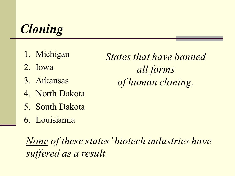 Cloning 1.Michigan 2.Iowa 3.Arkansas 4.North Dakota 5.South Dakota 6.Louisianna States that have banned all forms of human cloning. None of these stat