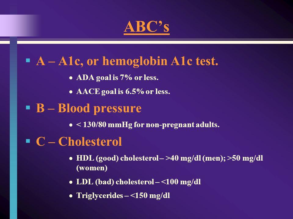 ABCs A – A1c, or hemoglobin A1c test. ADA goal is 7% or less.
