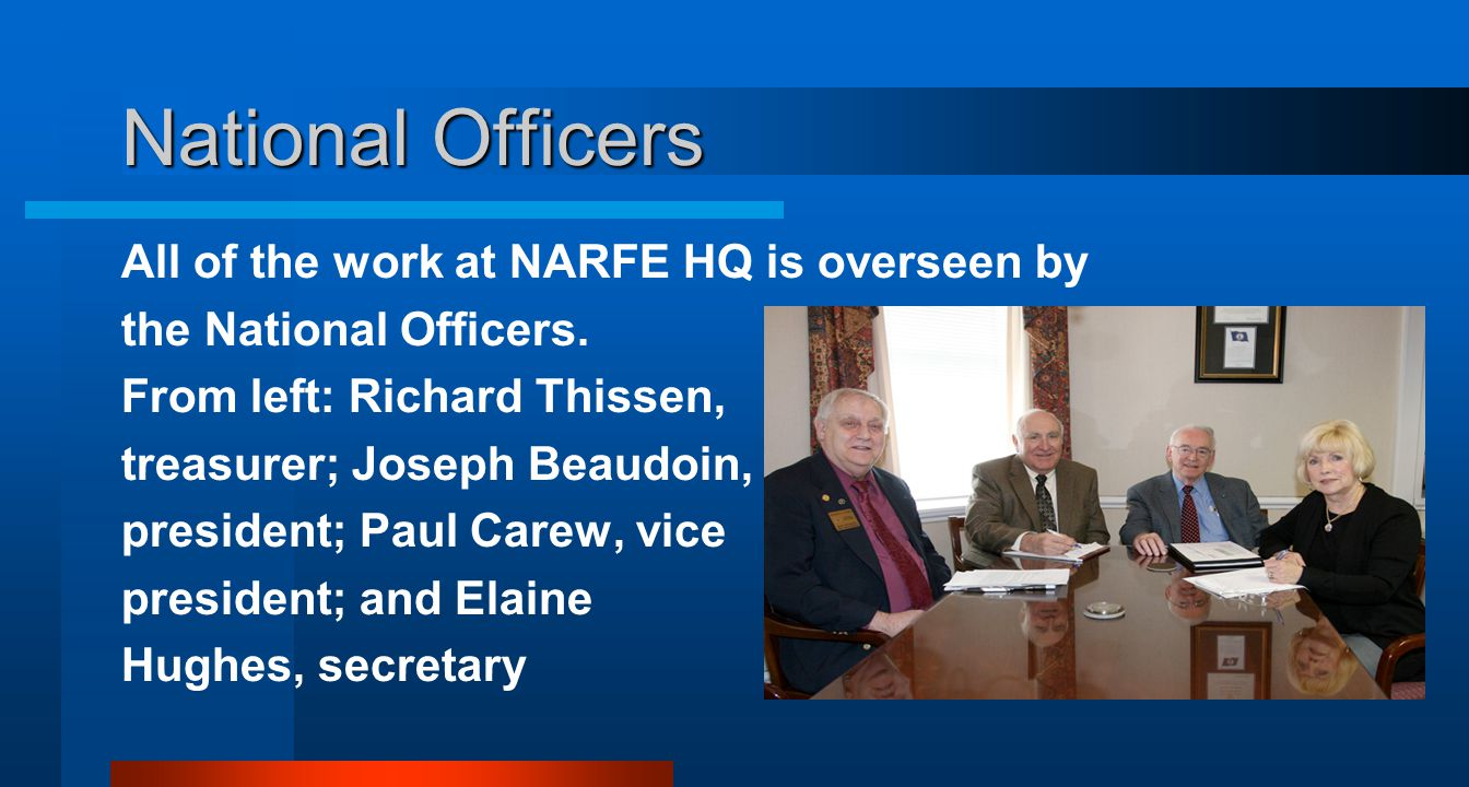 National Officers All of the work at NARFE HQ is overseen by the National Officers.
