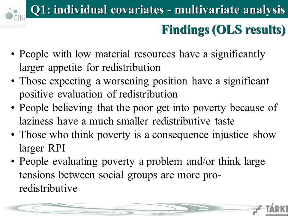 Q1: individual covariates - multivariate analysis Findings (OLS results) People with low material resources have a significantly larger appetite for redistribution Those expecting a worsening position have a significant positive evaluation of redistribution People believing that the poor get into poverty because of laziness have a much smaller redistributive taste Those who think poverty is a consequence injustice show larger RPI People evaluating poverty a problem and/or think large tensions between social groups are more pro- redistributive