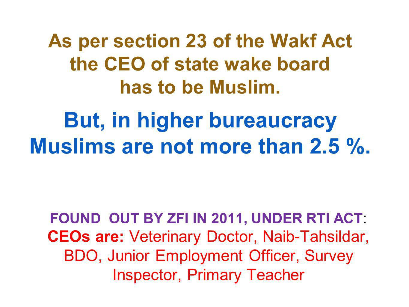 As per section 23 of the Wakf Act the CEO of state wake board has to be Muslim.