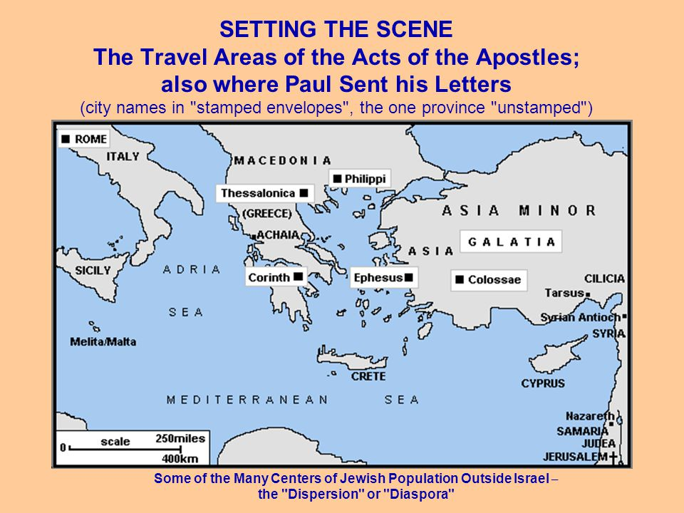 SETTING THE SCENE The Travel Areas of the Acts of the Apostles; also where Paul Sent his Letters (city names in stamped envelopes , the one province unstamped ) Some of the Many Centers of Jewish Population Outside Israel – the Dispersion or Diaspora