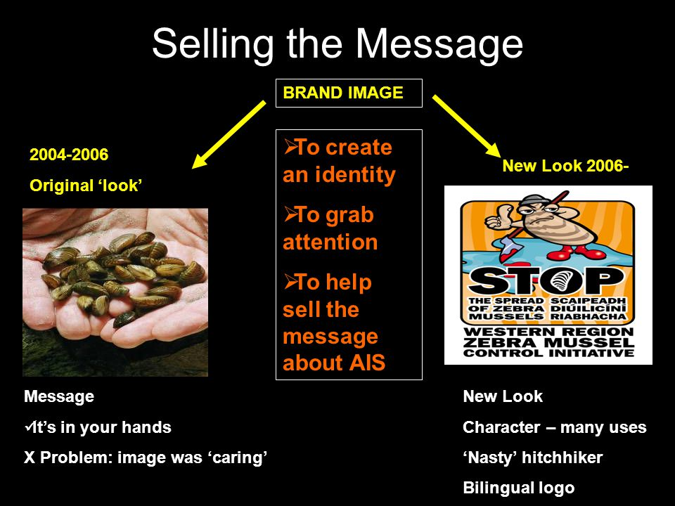 Selling the Message 2004-2006 Original look Message Its in your hands X Problem: image was caring New Look 2006- New Look Character – many uses Nasty hitchhiker Bilingual logo BRAND IMAGE To create an identity To grab attention To help sell the message about AIS