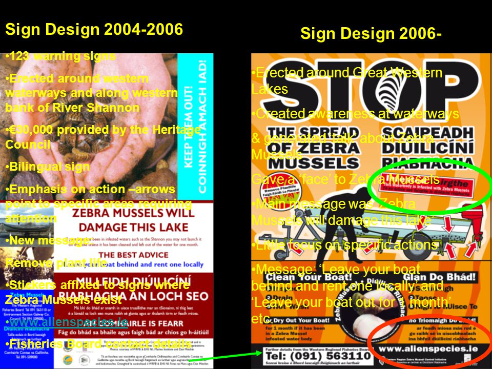 Sign Design 2004-2006 Sign Design 2006- Erected around Great Western Lakes Created awareness at waterways & generated talk about Zebra Mussels Gave a