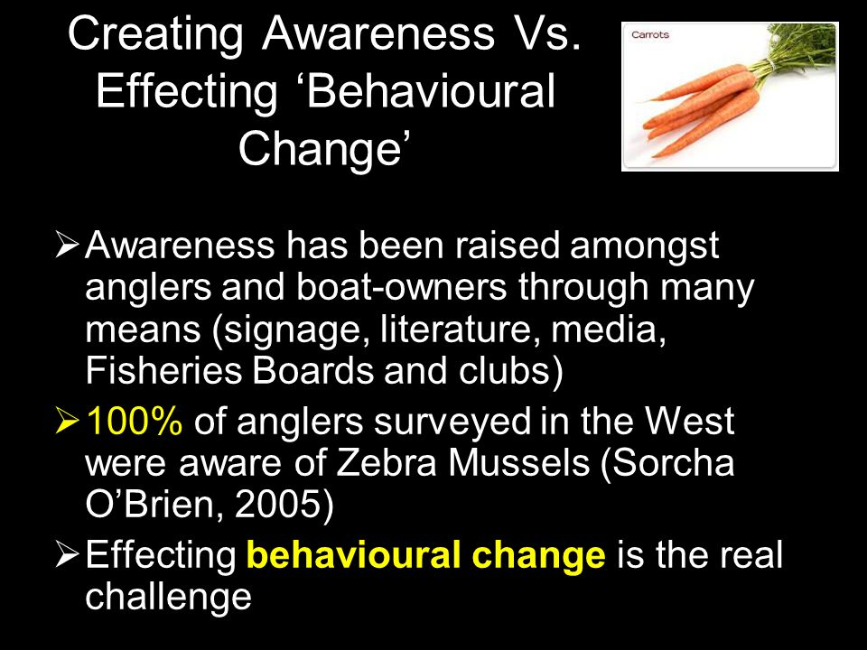 Creating Awareness Vs. Effecting Behavioural Change Awareness has been raised amongst anglers and boat-owners through many means (signage, literature,