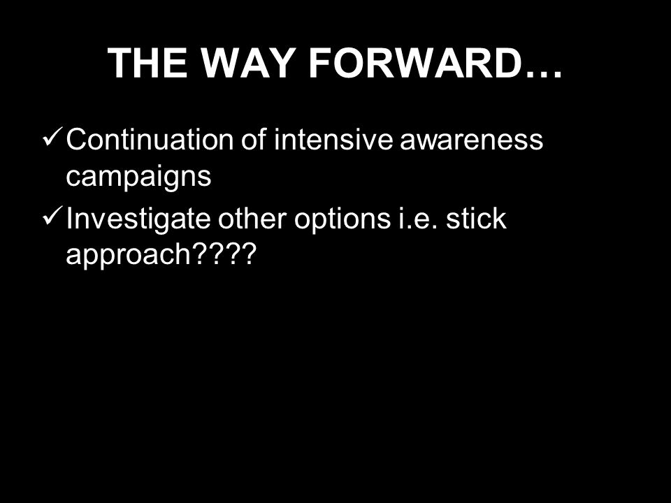 THE WAY FORWARD… Continuation of intensive awareness campaigns Investigate other options i.e.