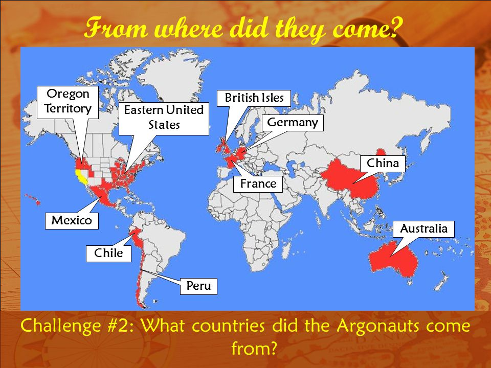 Challenge #2: What countries did the Argonauts come from.