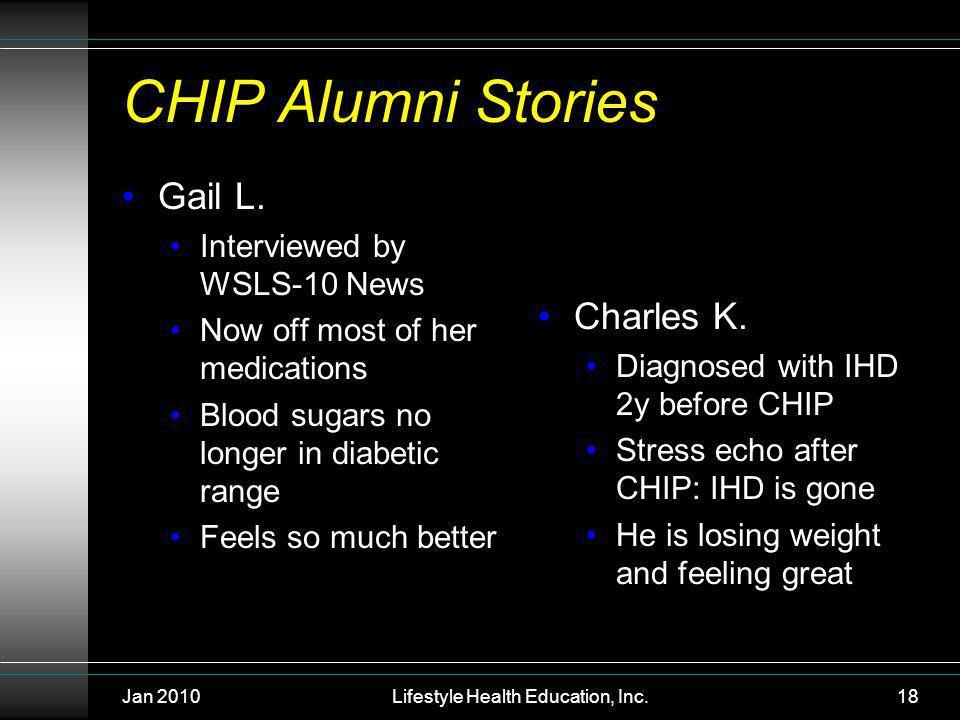 Jan 2010Lifestyle Health Education, Inc.18 CHIP Alumni Stories Gail L.