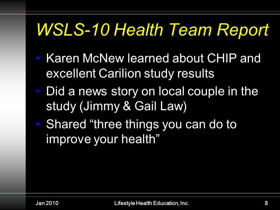 Jan 2010Lifestyle Health Education, Inc.8 WSLS-10 Health Team Report Karen McNew learned about CHIP and excellent Carilion study results Did a news story on local couple in the study (Jimmy & Gail Law) Shared three things you can do to improve your health