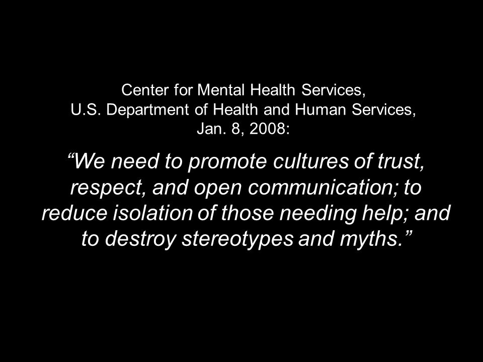 Center for Mental Health Services, U.S. Department of Health and Human Services, Jan.