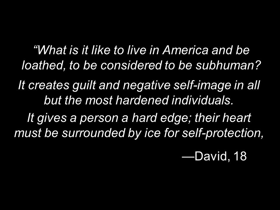 What is it like to live in America and be loathed, to be considered to be subhuman? David, 18 It creates guilt and negative self-image in all but the