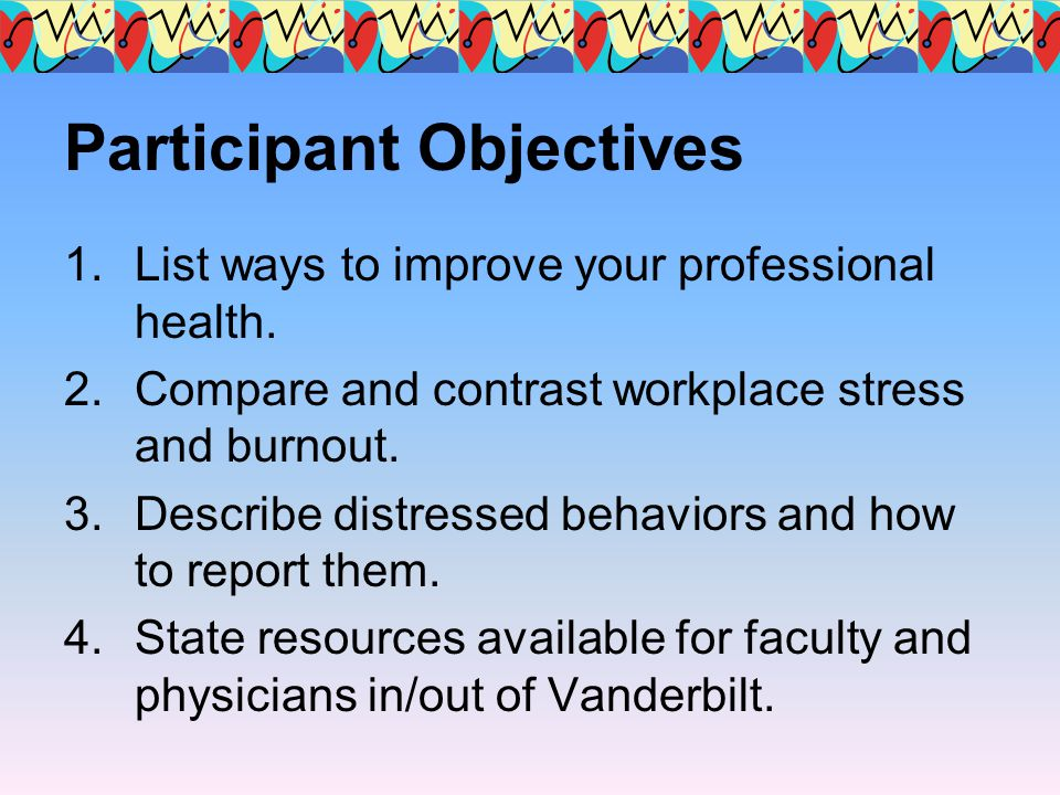 Participant Objectives 1.List ways to improve your professional health. 2.Compare and contrast workplace stress and burnout. 3.Describe distressed beh