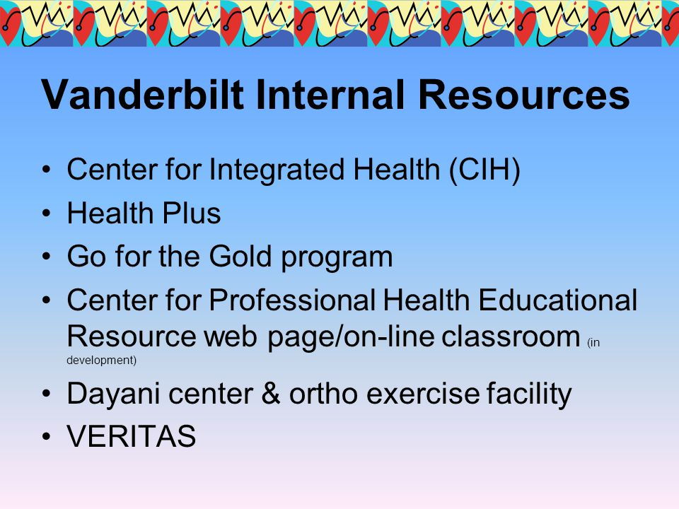 Vanderbilt Internal Resources Center for Integrated Health (CIH) Health Plus Go for the Gold program Center for Professional Health Educational Resour