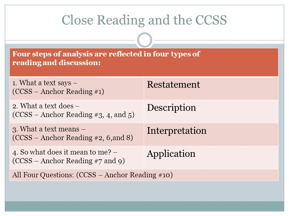 Going Deeper… When we read with our students, we are sometimes satisfied when they can recall and comprehend the meaning of the text…as they do after the first reading With the CCSS, we must go into the more critical and analytical questions