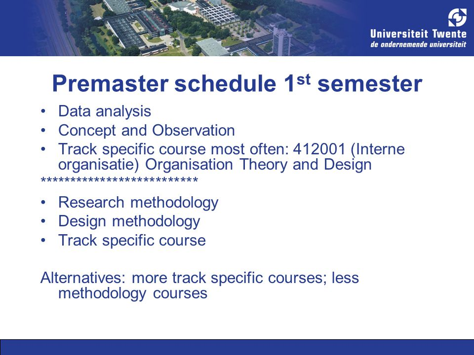 Premaster schedule 1 st semester Data analysis Concept and Observation Track specific course most often: 412001 (Interne organisatie) Organisation The