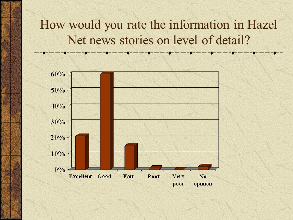 How would you rate the information in Hazel Net news stories on level of detail?