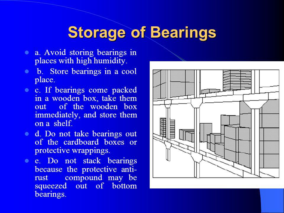 Storage of Bearings a. Avoid storing bearings in places with high humidity. b. Store bearings in a cool place. c. If bearings come packed in a wooden