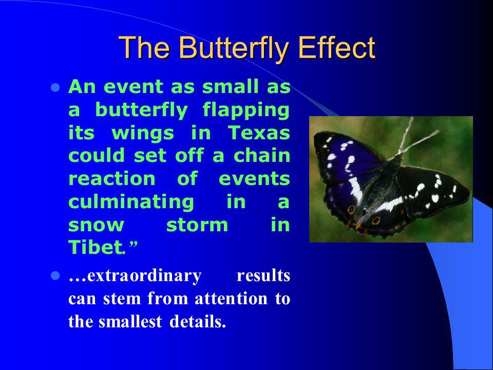 The Butterfly Effect An event as small as a butterfly flapping its wings in Texas could set off a chain reaction of events culminating in a snow storm