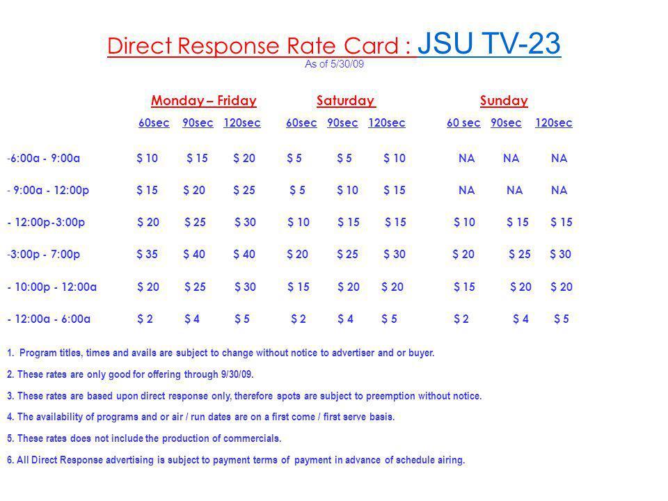 Direct Response Rate Card : JSU TV-23 As of 5/30/09 Monday – Friday Saturday Sunday 60sec 90sec 120sec 60sec 90sec 120sec 60 sec 90sec 120sec - 6:00a - 9:00a $ 10 $ 15 $ 20 $ 5 $ 5 $ 10 NA NA NA - 9:00a - 12:00p $ 15 $ 20 $ 25 $ 5 $ 10 $ 15 NA NA NA - 12:00p-3:00p $ 20 $ 25 $ 30 $ 10 $ 15 $ 15 $ 10 $ 15 $ 15 - 3:00p - 7:00p $ 35 $ 40 $ 40 $ 20 $ 25 $ 30 $ 20 $ 25 $ 30 - 10:00p - 12:00a $ 20 $ 25 $ 30 $ 15 $ 20 $ 20 $ 15 $ 20 $ 20 - 12:00a - 6:00a $ 2 $ 4 $ 5 $ 2 $ 4 $ 5 $ 2 $ 4 $ 5 1.