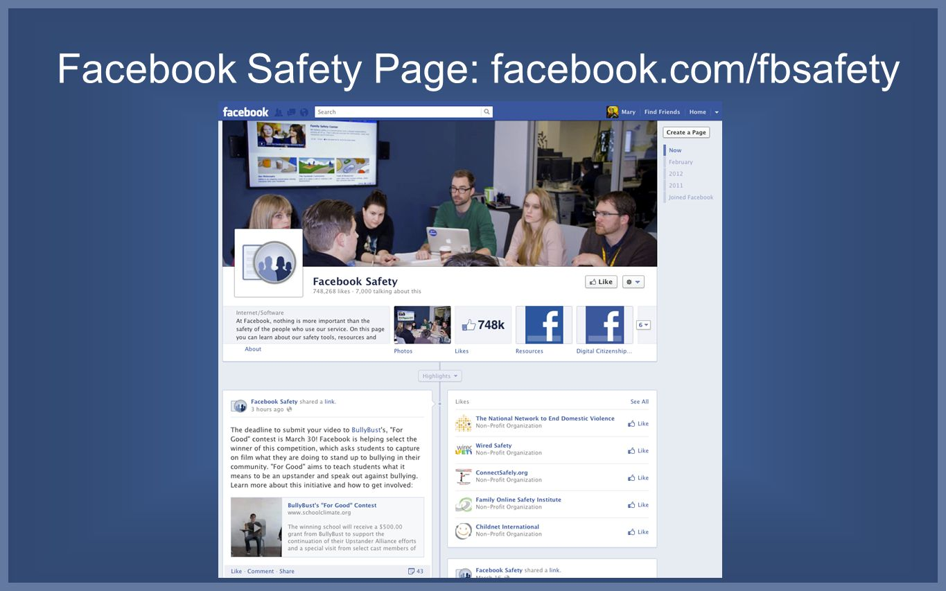 Facebook Safety Page: facebook.com/fbsafety