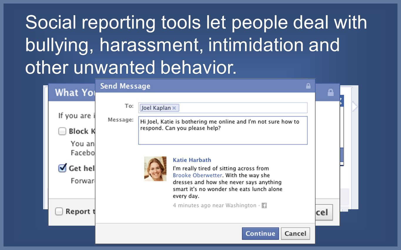 Social reporting tools let people deal with bullying, harassment, intimidation and other unwanted behavior.