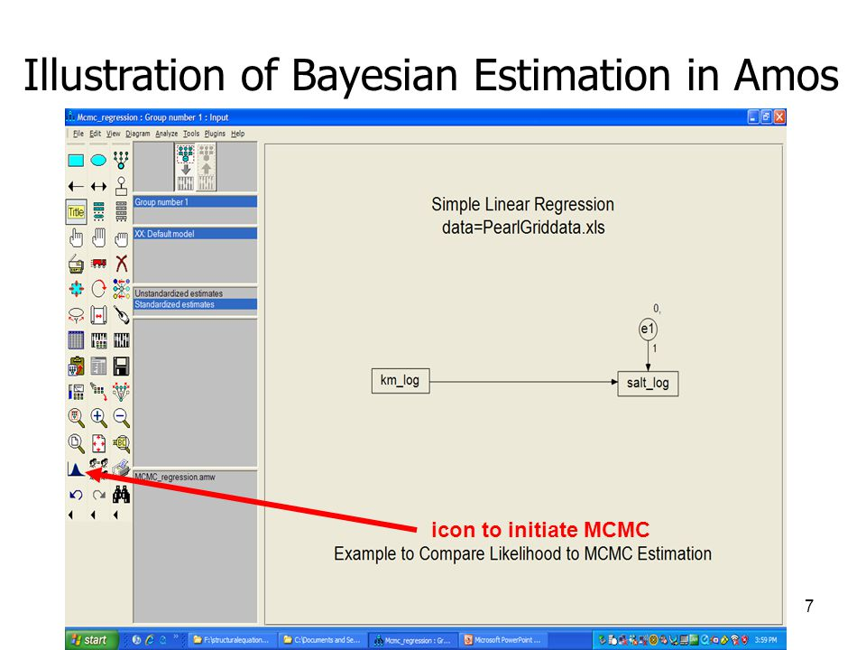 7 Illustration of Bayesian Estimation in Amos icon to initiate MCMC