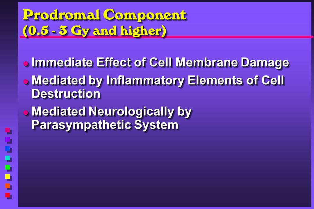 Prodromal Component (0.5 - 3 Gy and higher) Immediate Effect of Cell Membrane Damage Immediate Effect of Cell Membrane Damage Mediated by Inflammatory