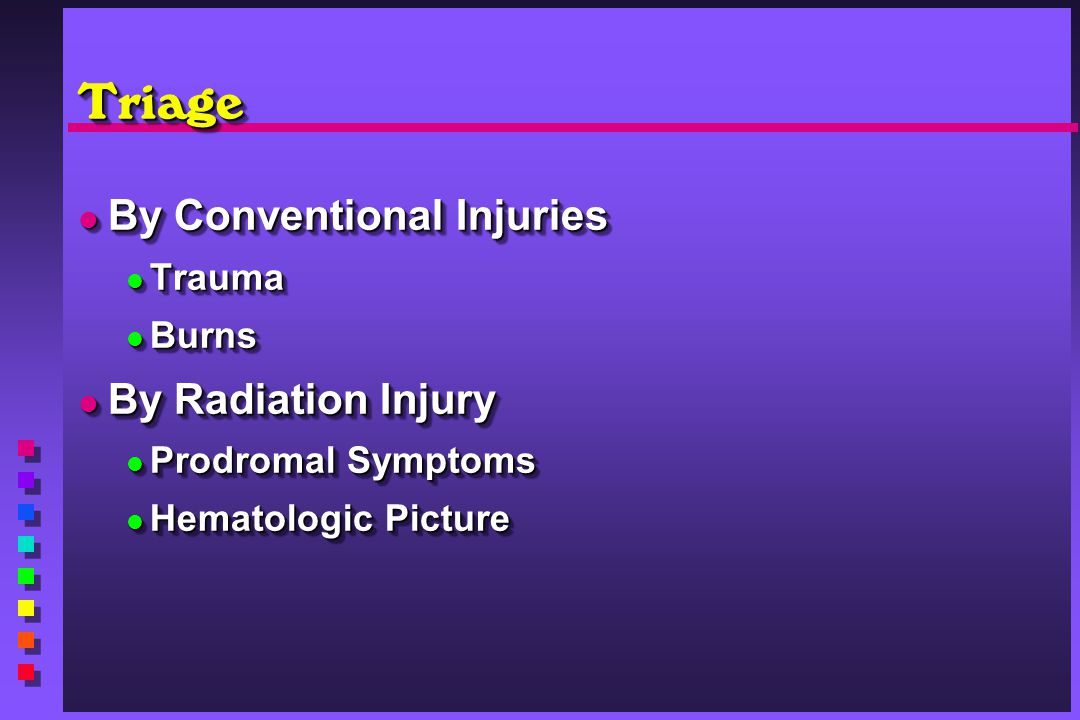 TriageTriage By Conventional Injuries By Conventional Injuries Trauma Trauma Burns Burns By Radiation Injury By Radiation Injury Prodromal Symptoms Pr
